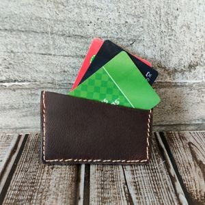 Handcrafted imported Kodiak leather card sleeve